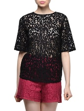 Black Sheer Lace Top - Femella
