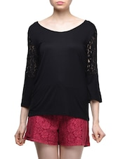 Boat Neck Lace Top - Femella