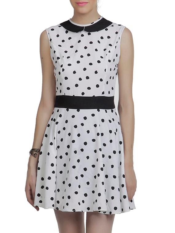 White & Black American Crepe Dress - By