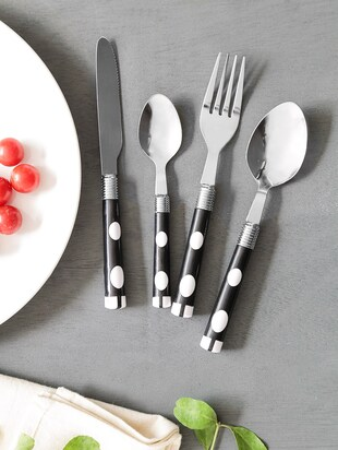 Black Polka Dot Cutlery Set With Stand