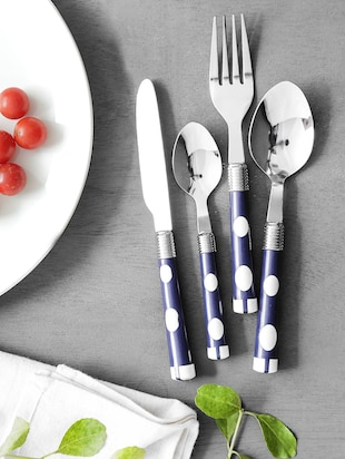 Blue Polka Dot Cutlery Set With Stand
