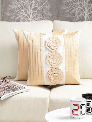 Dekor World Rose pleated Cushion Cover (Pack of 2)