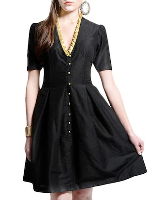 black cotton silk pleated dress