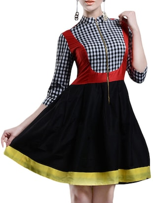black checkered cotton silk dress