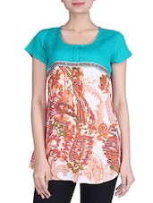 Green & Orange Rayon Printed Top - By