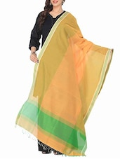 Orange And Green Cotton Silk Dupatta - By