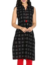 Black Colored, Cotton Printed Kurta - By
