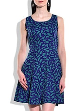 Royal Blue, Sea Green Polyester Dress - By