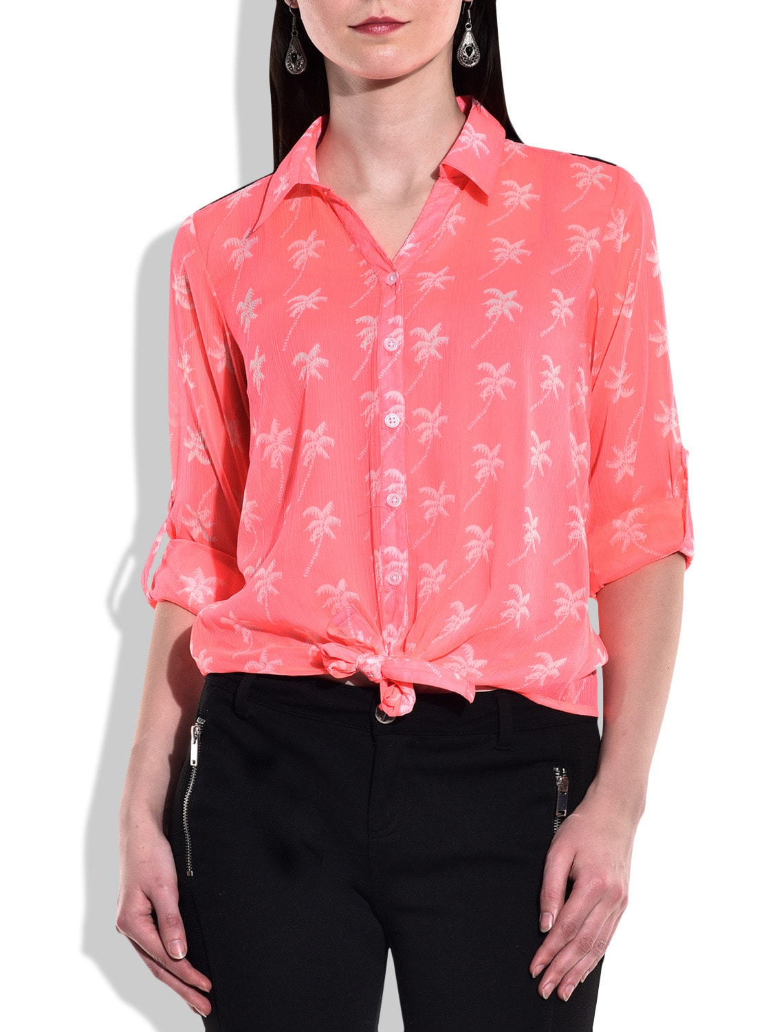 Neon Pink, White PolyChiffon, Lace Shirt - By