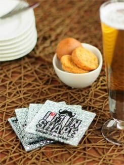 Crystal Coasters with Funky Text (Set of 4) - FOYER