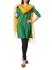 Green Quarter Sleeves Cotton Kurta With Yellow Cotton Dupatta - STRI