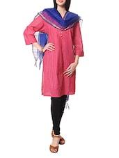 Pink Quarter Sleeves Cotton Kurta With Blue Cotton Dupatta - STRI
