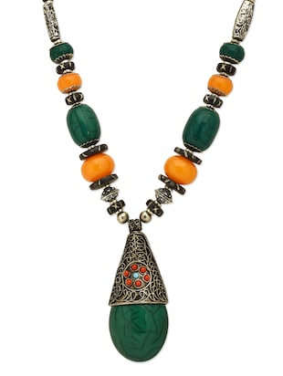 Green and Yellow Long Tibetean Pendant necklace