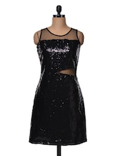 Black Sequined Sleeveless Dress - Meee!