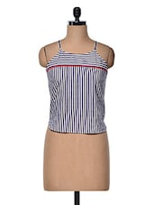 Blue & White Stripped Top With Shoulder Straps - Meee!