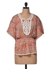 Multicoloured Printed Kaftan Top With Lace Placket - Meee!