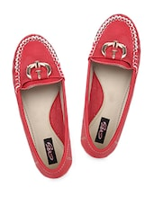 Red Loafers With Metal Buckle - Elly