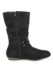 High Ankle Metal Studded Black Boots With Zipper - Elly