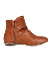 Perforated Ankle Length Leatherette Brown Boots With Zipper - Elly