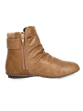 Gathered Ankle Length Leatherette Boots With Distinct Buckle - Elly
