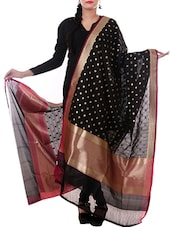 Black Silk Zari Work Dupatta - By