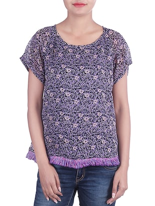 black,purple georgette top