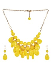 Ravishing Raindrop Inspired Yellow Necklace Set - Moed Buille