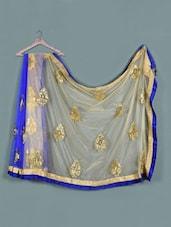 Beige And Blue Net Saree - Aarohii