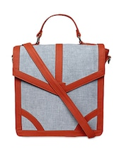 Colour Block Leatherette Handbag - Borsavela