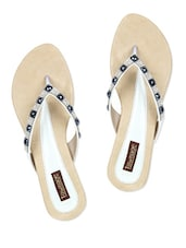 White Color Patent Leatherette Flats - Townage