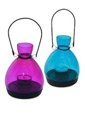 Glass Purple & Blue Lanterns (Set Of 2) - The Yellow Door