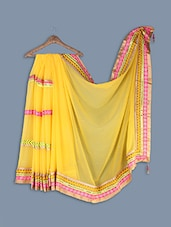 Chiffon Saree With Embroidered Lace Work - Ethnictrend
