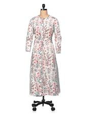 Off-white Floral Cotton Long Kurta - The Shop
