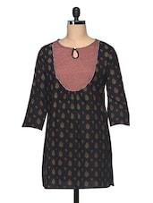 Black Floral Printed Cotton Kurti - The Shop