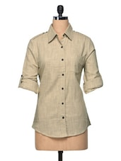 Beige Shoulder Epaulette Linen Shirt - The Shop