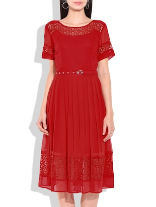 red georgette belted dress -  online shopping for Dresses