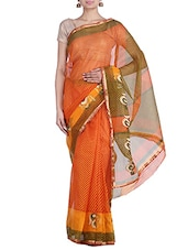 Yellow & Red Net Saree - By