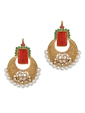 Square Red Stone & Crystal Studded Earrings - Savi