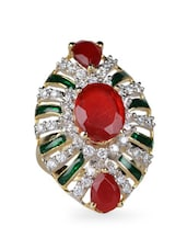 Red Stone & Crystal Studded Oval Ring - Savi