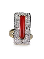 Rectangular Red Stone & American Diamond Studded Ring - Savi