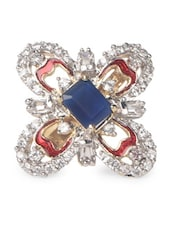 Red Stone & American Diamond Studded Ring - Savi