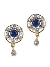 Blue Stone & American Diamond Studded Earring - Savi