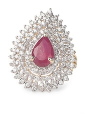 Drop Shaped Red Stone & American Diamond Studded Ring - Savi