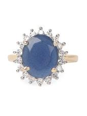 Blue Stone & American Diamond Studded Ring - Savi
