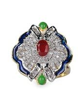 Red Stone & American Diamond Studded Ring - Savi