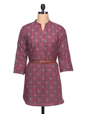 Check Shirt With Three Quarter Sleeve &Belt - Ayaany