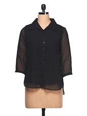 Plain Black With Three Quarter Sleeve Shirt - Ayaany
