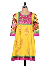 Embroidered Mirror Work Cotton Kurti With Gathers - Goodkarma