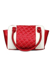 Red & White Textured Leatherette Handbag - Bagsy Malone