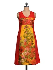 Floral Print Sleeveless Chiffon Kurta - Shakumbhari